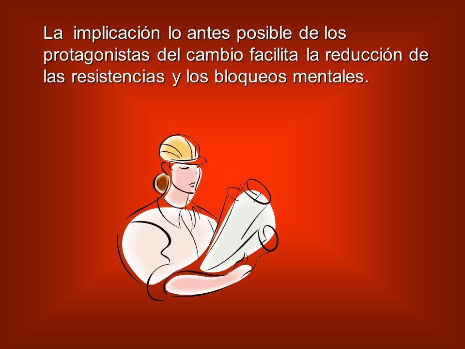 EL TRATAMIENTO DE LAS RESISTENCIAS Y LOS BLOQUEOS La mayor participación posible de los empleados implicados en el proceso. La mayor participación pos