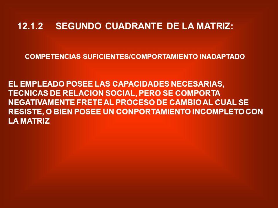 12.1.1 PRIMER CUADRANTE DE LA MATRIZ: COMPETENCIAS INSUFICIENTES/COMPORTAMIENTO INADAPTADO EN ESTE PRIMER CUADRANTE, EL EMPLEADO NO POSEE LAS CAPACIDA