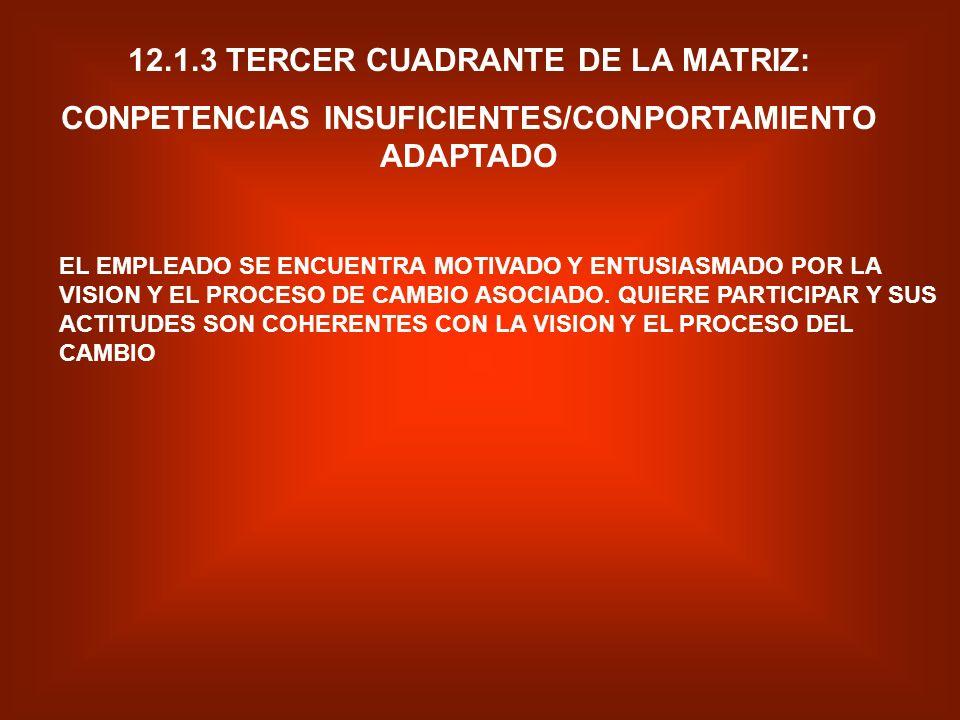 12.1.2 SEGUNDO CUADRANTE DE LA MATRIZ: COMPETENCIAS SUFICIENTES/COMPORTAMIENTO INADAPTADO EL EMPLEADO POSEE LAS CAPACIDADES NECESARIAS, TECNICAS DE RE