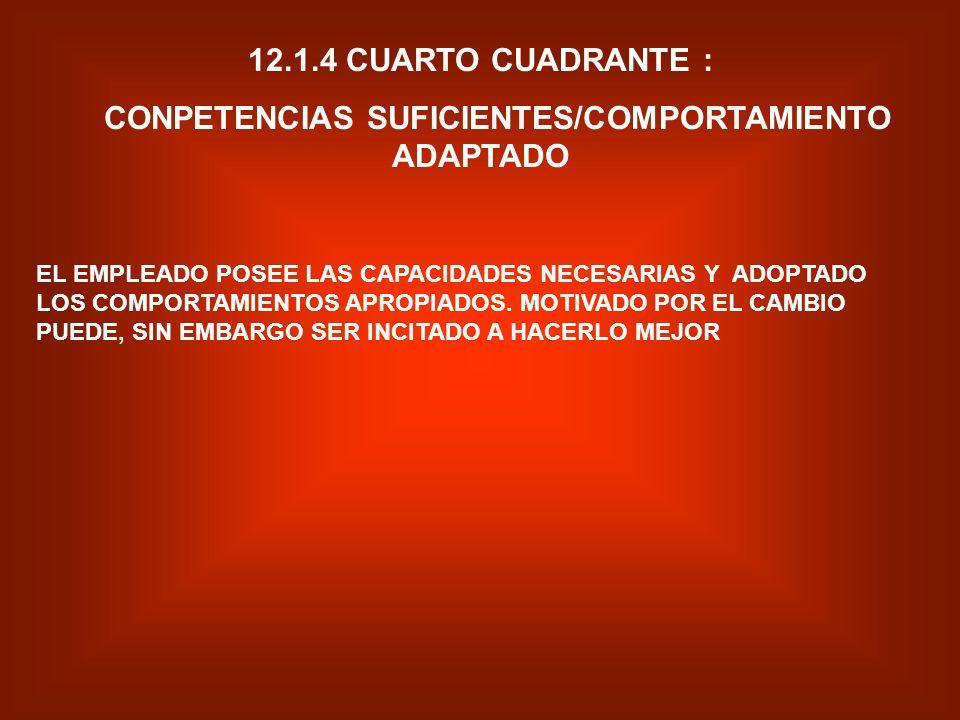 12.1.3 TERCER CUADRANTE DE LA MATRIZ: CONPETENCIAS INSUFICIENTES/CONPORTAMIENTO ADAPTADO EL EMPLEADO SE ENCUENTRA MOTIVADO Y ENTUSIASMADO POR LA VISIO