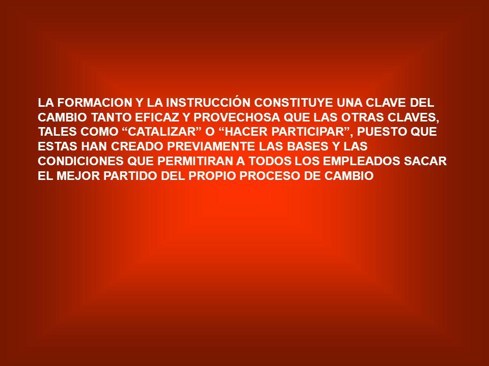 EL TRABAJO DE GRUPO Y LA FORMACION: DAN AL EMPLEADO LA OPORTUNIDAD DE REFLEXIONAR, DE ESCUCHAR DIFERENTES PUNTOS DE VISTA Y DE INCORPORAR NUEVOS CONCE
