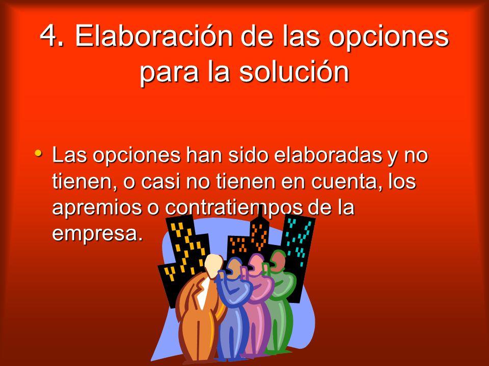 3. Elaboración de opciones para la solución Las causas del cambio son siempre múltiples y las soluciones para resolverlos también lo son.