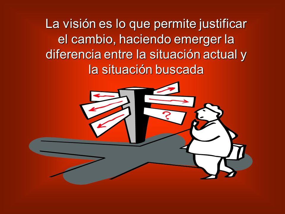 La visión es lo que permite justificar el cambio, haciendo emerger la diferencia entre la situación actual y la situación buscada