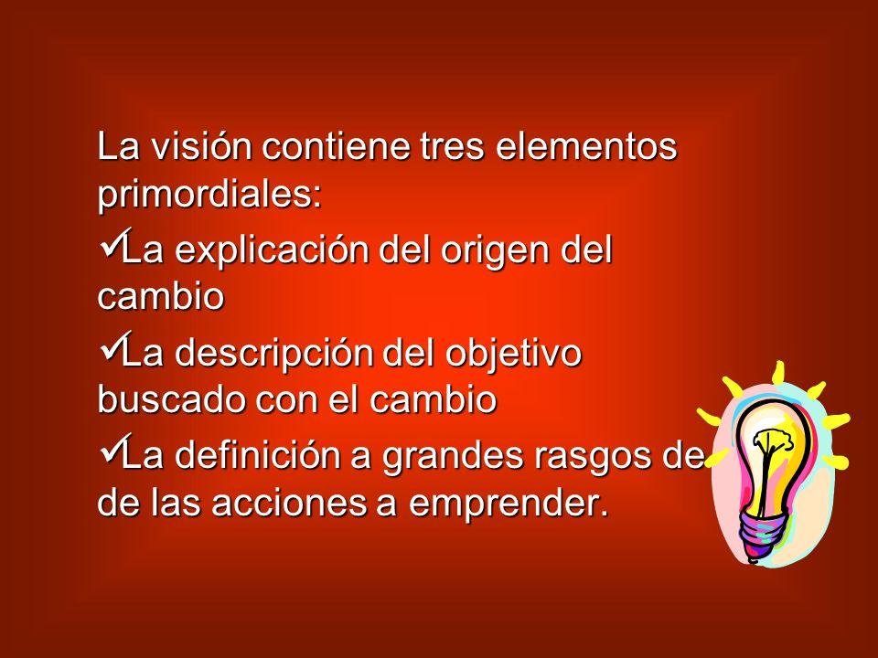 La visión contiene tres elementos primordiales: La La explicación del origen del cambio descripción del objetivo buscado con el cambio definición a grandes rasgos de de las acciones a emprender.