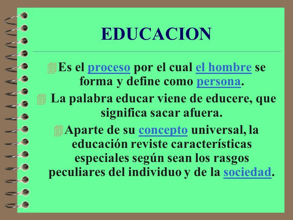 EDUCACION La educación es el conjunto de conocimientos, ordenes y métodos por medio de los cuales se ayuda al individuo en el desarrollo y mejora de l