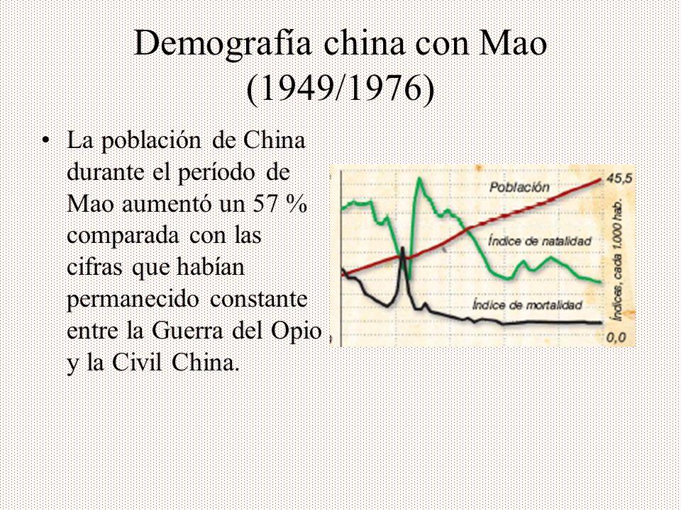 Demografía china con Mao (1949/1976) La población de China durante el período de Mao aumentó un 57 % comparada con las cifras que habían permanecido c