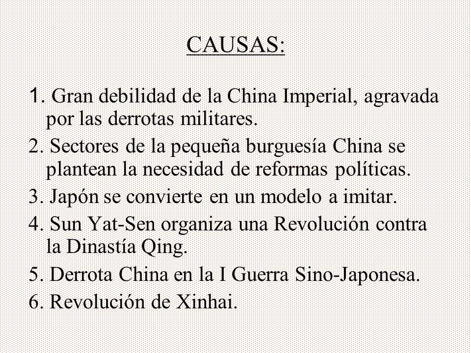 CAUSAS: 1. Gran debilidad de la China Imperial, agravada por las derrotas militares. 2. Sectores de la pequeña burguesía China se plantean la necesida