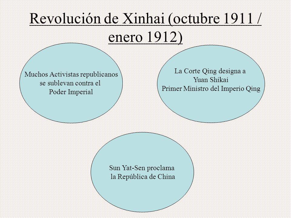 Revolución de Xinhai (octubre 1911 / enero 1912) Muchos Activistas republicanos se sublevan contra el Poder Imperial La Corte Qing designa a Yuan Shik