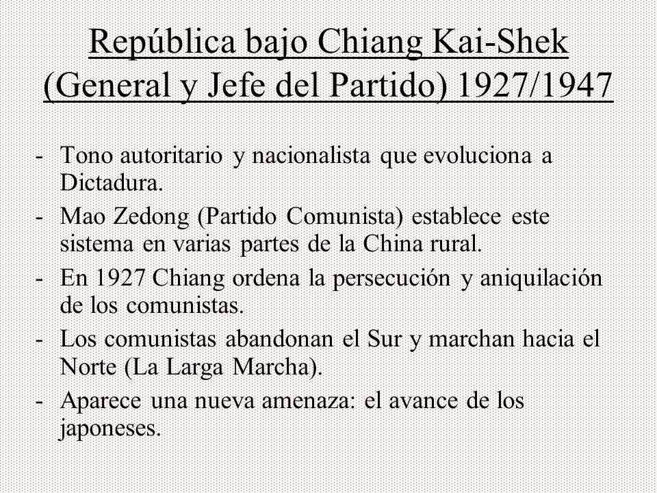 República bajo Chiang Kai-Shek (General y Jefe del Partido) 1927/1947 -Tono autoritario y nacionalista que evoluciona a Dictadura. -Mao Zedong (Partid