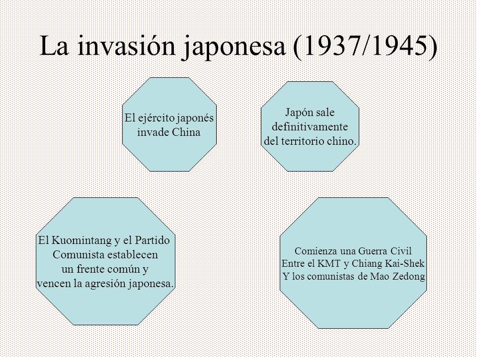 La invasión japonesa (1937/1945) El ejército japonés invade China Japón sale definitivamente del territorio chino. Comienza una Guerra Civil Entre el
