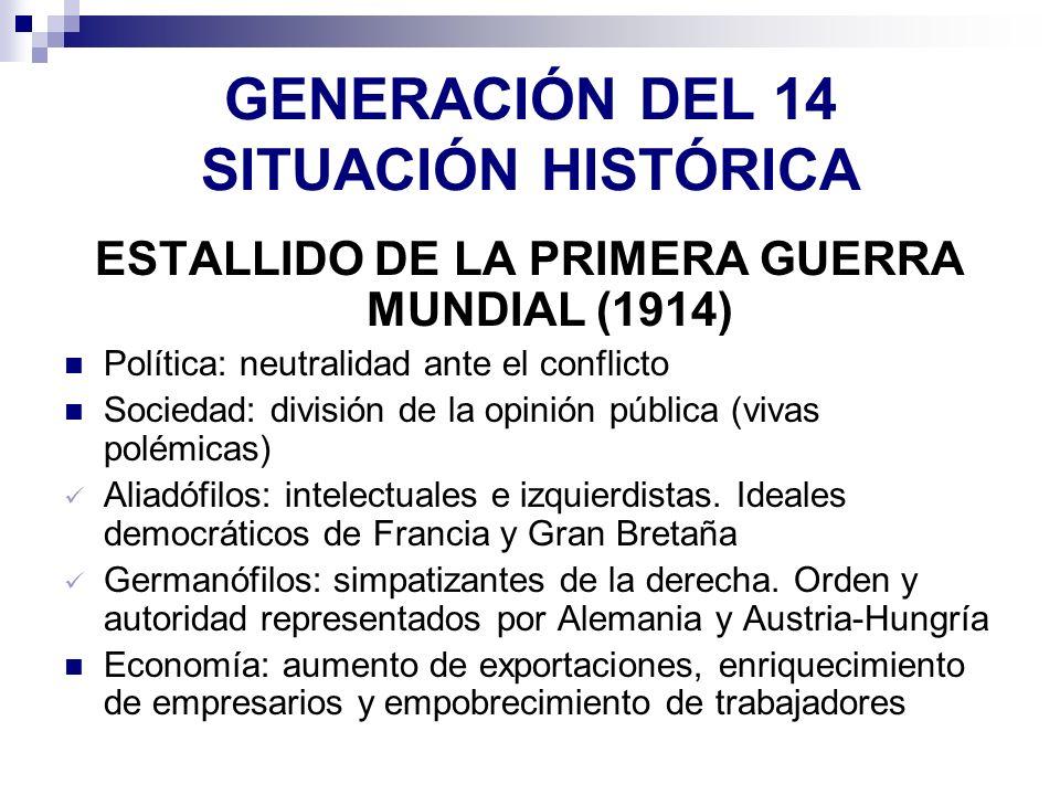 GENERACIÓN DEL 14 SITUACIÓN HISTÓRICA ESTALLIDO DE LA PRIMERA GUERRA MUNDIAL (1914) Política: neutralidad ante el conflicto Sociedad: división de la o