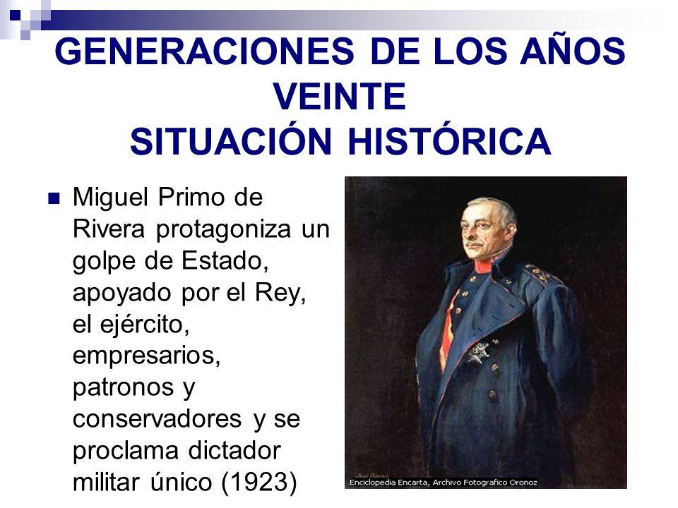GENERACIONES DE LOS AÑOS VEINTE SITUACIÓN HISTÓRICA Miguel Primo de Rivera protagoniza un golpe de Estado, apoyado por el Rey, el ejército, empresario