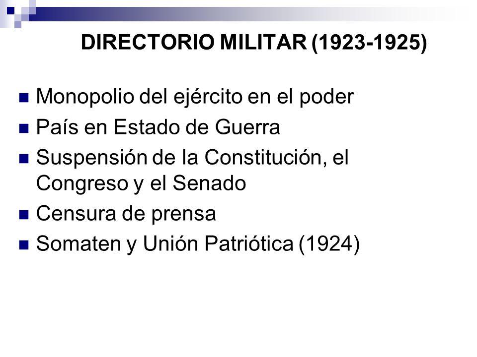 DIRECTORIO MILITAR (1923-1925) Monopolio del ejército en el poder País en Estado de Guerra Suspensión de la Constitución, el Congreso y el Senado Cens