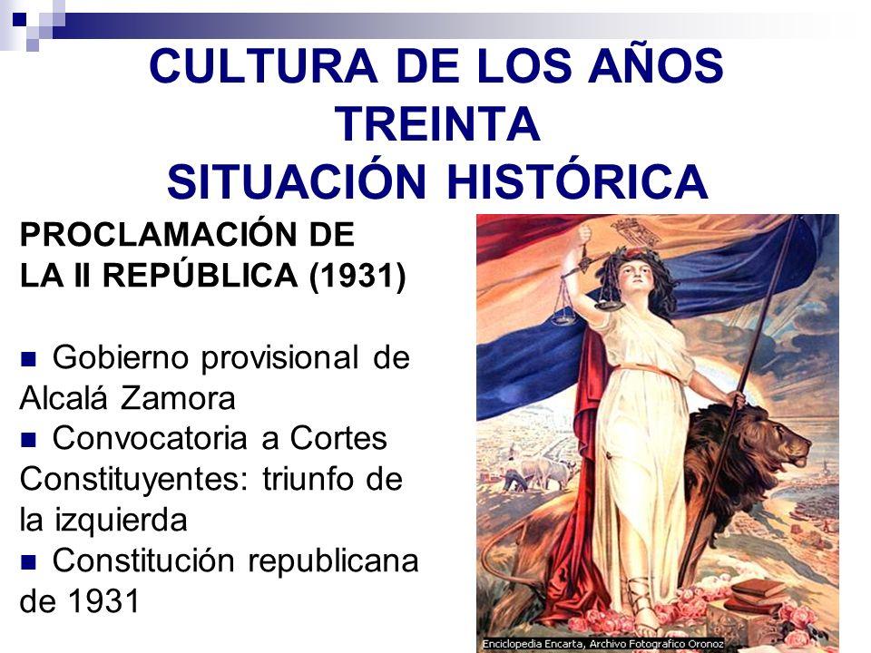 CULTURA DE LOS AÑOS TREINTA SITUACIÓN HISTÓRICA PROCLAMACIÓN DE LA II REPÚBLICA (1931) Gobierno provisional de Alcalá Zamora Convocatoria a Cortes Con