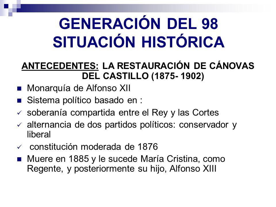 GENERACIÓN DEL 98 SITUACIÓN HISTÓRICA ANTECEDENTES: LA RESTAURACIÓN DE CÁNOVAS DEL CASTILLO (1875- 1902) Monarquía de Alfonso XII Sistema político bas