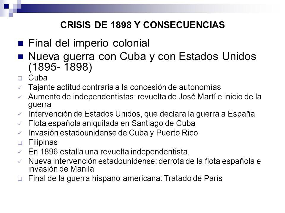 CRISIS DE 1898 Y CONSECUENCIAS Final del imperio colonial Nueva guerra con Cuba y con Estados Unidos (1895- 1898) Cuba Tajante actitud contraria a la