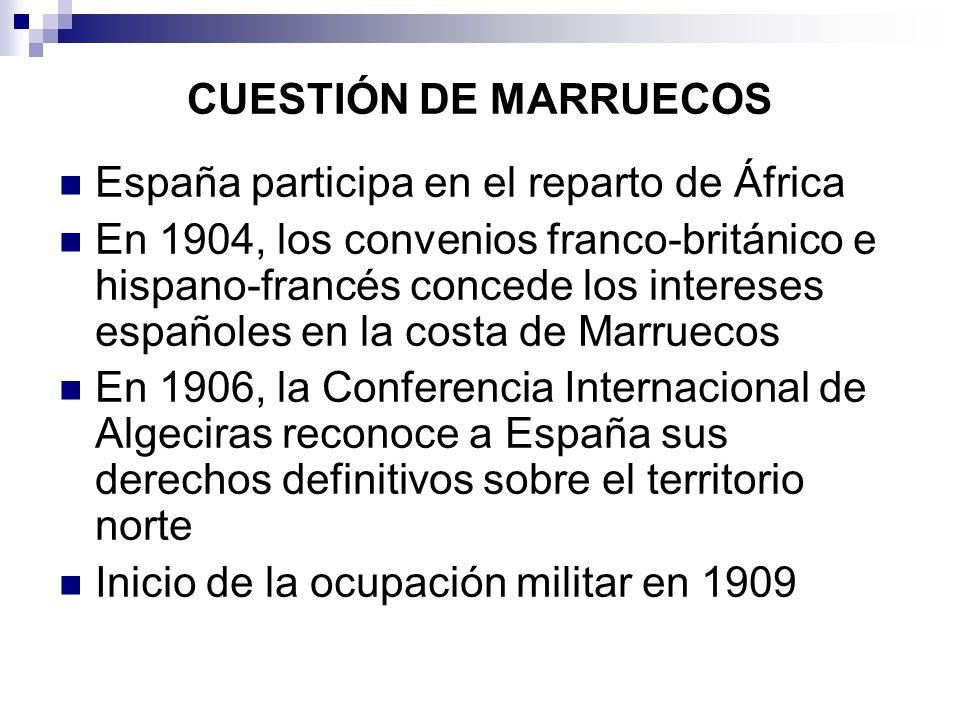 CUESTIÓN DE MARRUECOS España participa en el reparto de África En 1904, los convenios franco-británico e hispano-francés concede los intereses español