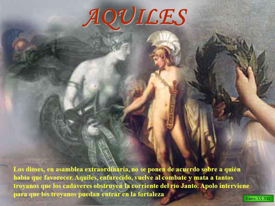 AQUILES Los dioses, en asamblea extraordinaria, no se ponen de acuerdo sobre a quién había que favorecer. Aquiles, enfurecido, vuelve al combate y mat