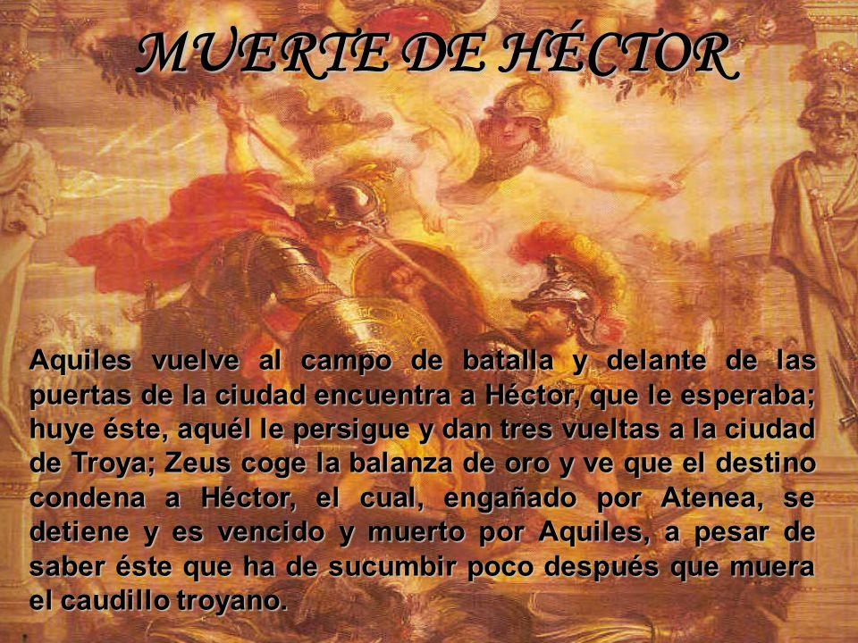 MUERTE DE HÉCTOR Aquiles vuelve al campo de batalla y delante de las puertas de la ciudad encuentra a Héctor, que le esperaba; huye éste, aquél le per