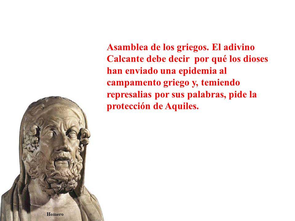 Vestido con la armadura que le había fabricado Hefesto, Aquiles se reconcilia con Agamenón.