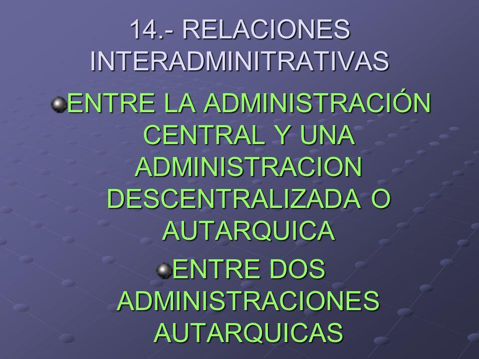14.- RELACIONES INTERADMINITRATIVAS ENTRE LA ADMINISTRACIÓN CENTRAL Y UNA ADMINISTRACION DESCENTRALIZADA O AUTARQUICA ENTRE DOS ADMINISTRACIONES AUTAR