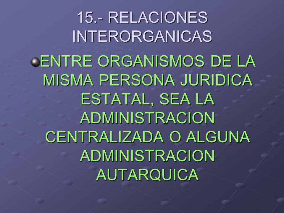 15.- RELACIONES INTERORGANICAS ENTRE ORGANISMOS DE LA MISMA PERSONA JURIDICA ESTATAL, SEA LA ADMINISTRACION CENTRALIZADA O ALGUNA ADMINISTRACION AUTAR