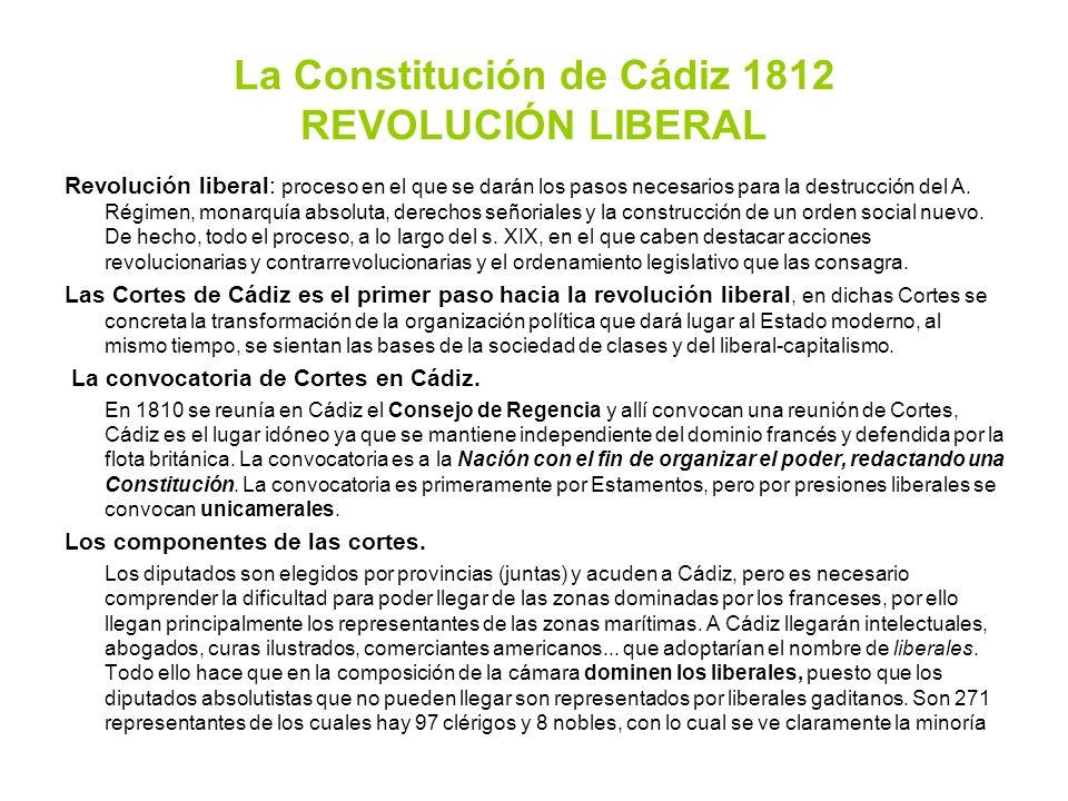 La Constitución de Cádiz 1812 REVOLUCIÓN LIBERAL Revolución liberal: proceso en el que se darán los pasos necesarios para la destrucción del A. Régime