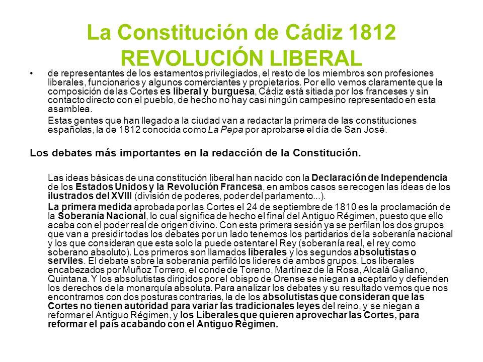 La Constitución de Cádiz 1812 REVOLUCIÓN LIBERAL de representantes de los estamentos privilegiados, el resto de los miembros son profesiones liberales