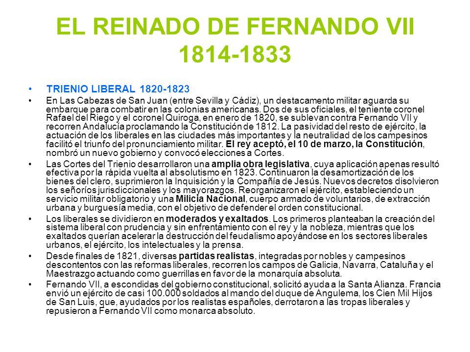 EL REINADO DE FERNANDO VII 1814-1833 TRIENIO LIBERAL 1820-1823 En Las Cabezas de San Juan (entre Sevilla y Cádiz), un destacamento militar aguarda su