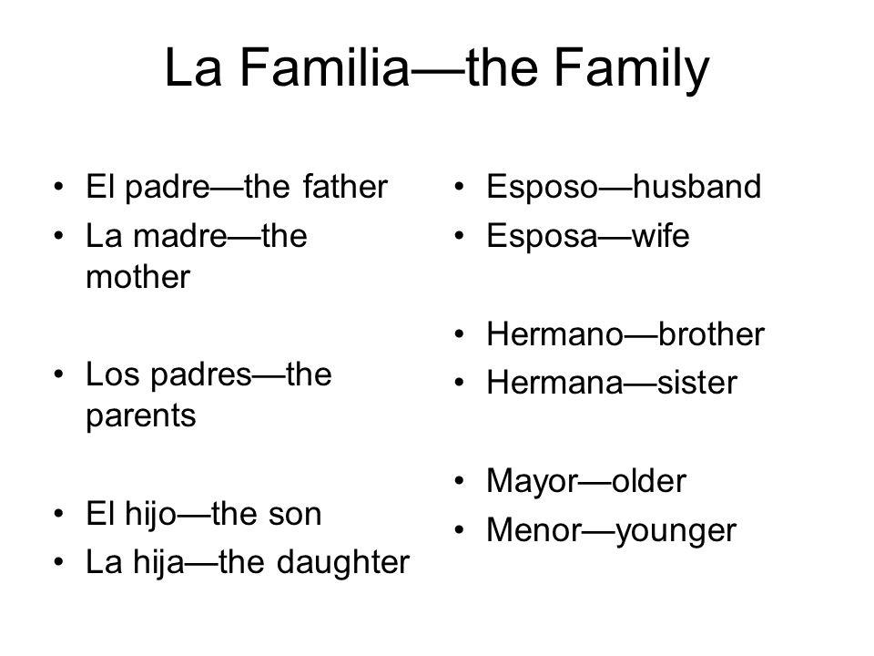 La Familiathe Family Yernoson-in-law Nueradaughter-in- law Suegrofather-in-law Suegramother-in- law Cuñadobrother-in- law Cuñadasister-in-law