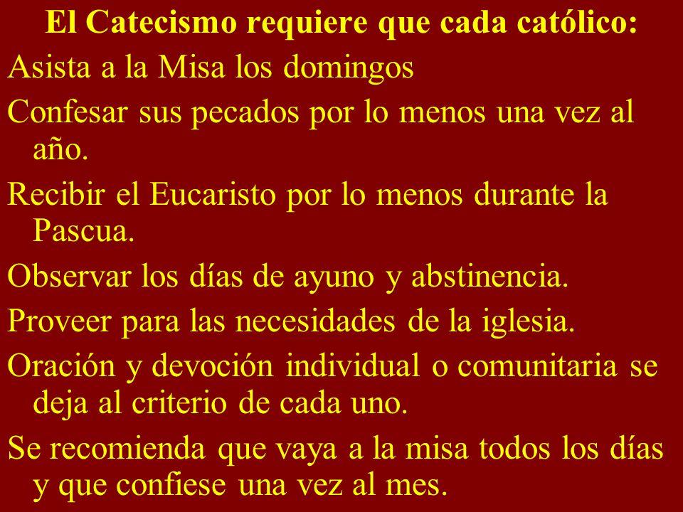 El Catecismo requiere que cada católico: Asista a la Misa los domingos Confesar sus pecados por lo menos una vez al año. Recibir el Eucaristo por lo m