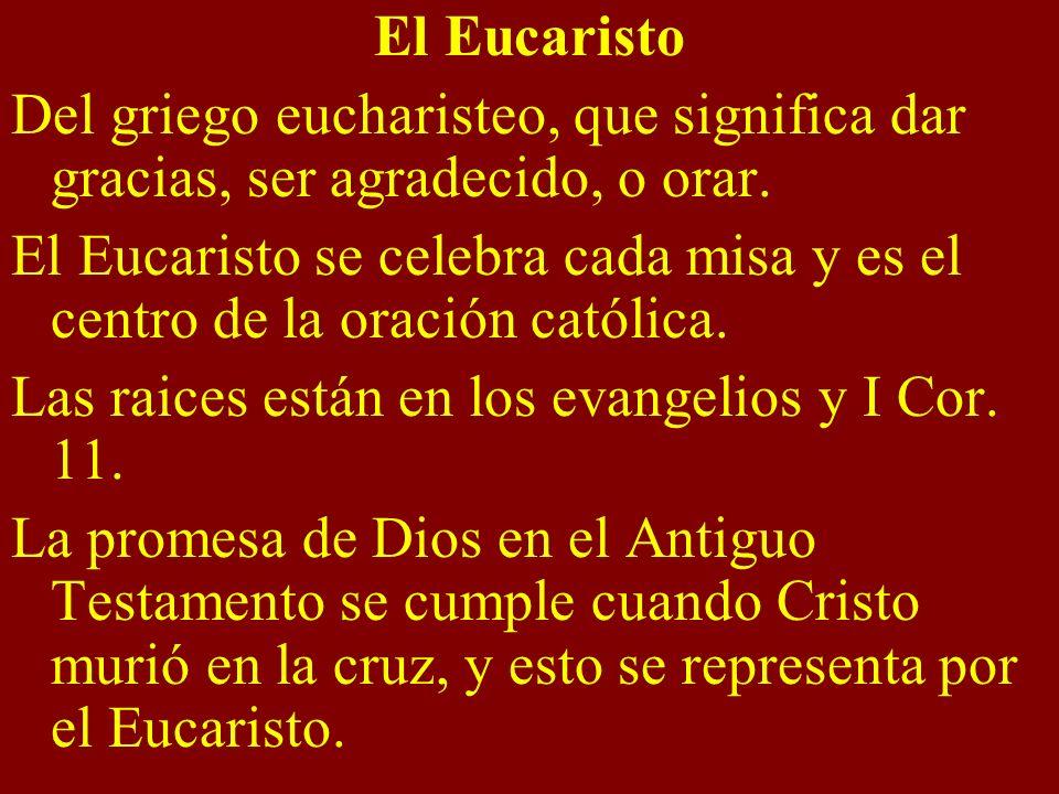 El Eucaristo Del griego eucharisteo, que significa dar gracias, ser agradecido, o orar. El Eucaristo se celebra cada misa y es el centro de la oración