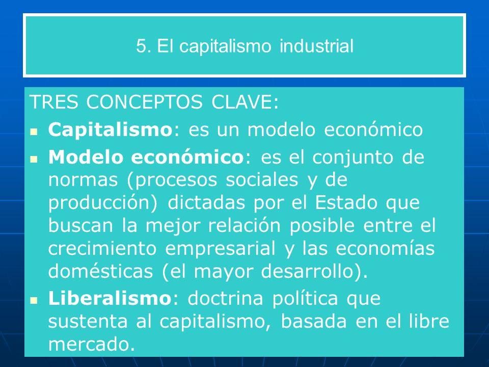 5. El capitalismo industrial TRES CONCEPTOS CLAVE: Capitalismo: es un modelo económico Modelo económico: es el conjunto de normas (procesos sociales y