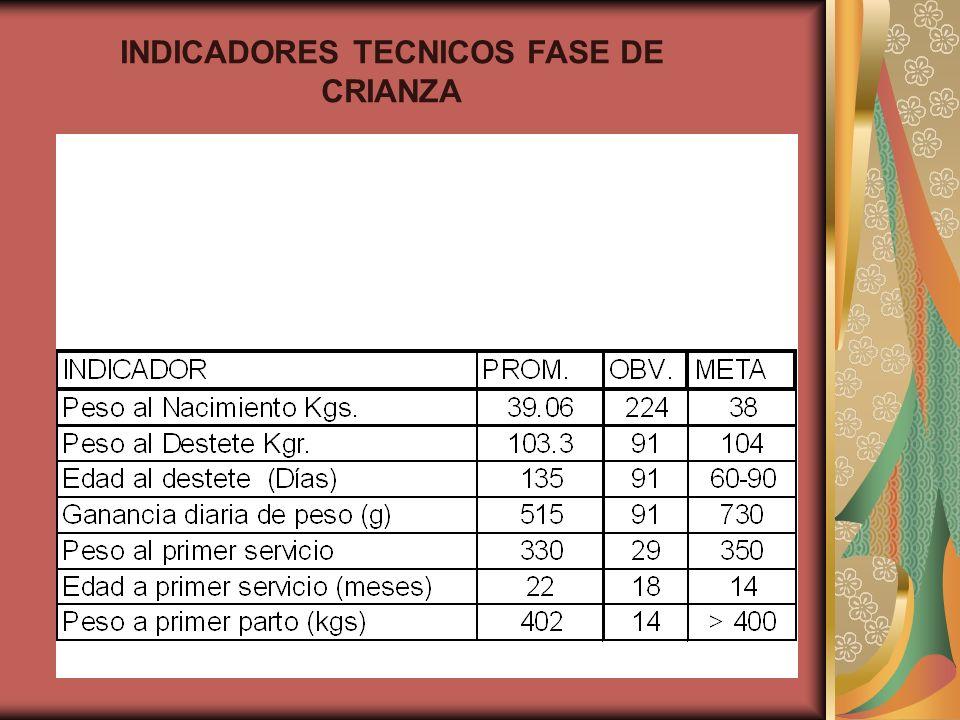 INDICADORES TECNICOS FASE DE CRIANZA