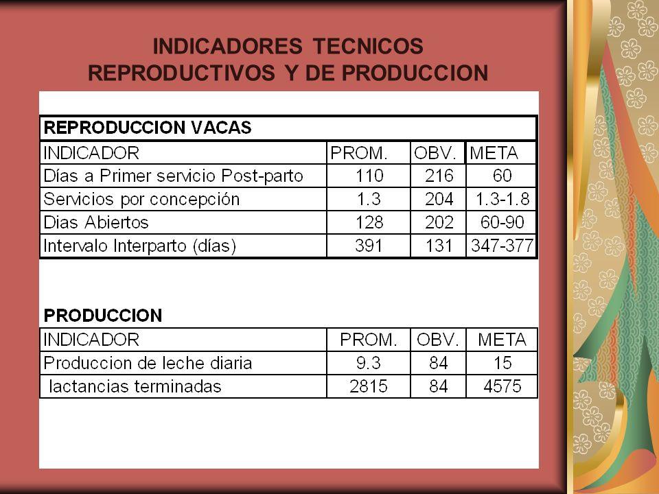 INDICADORES TECNICOS REPRODUCTIVOS Y DE PRODUCCION