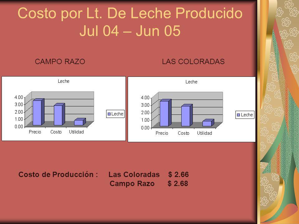 Costo por Lt. De Leche Producido Jul 04 – Jun 05 CAMPO RAZOLAS COLORADAS Costo de Producción : Las Coloradas $ 2.66 Campo Razo $ 2.68