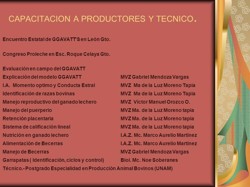 CAPACITACION A PRODUCTORES Y TECNICO. Encuentro Estatal de GGAVATT'S en León Gto. Congreso Proleche en Esc. Roque Celaya Gto. Evaluación en campo del