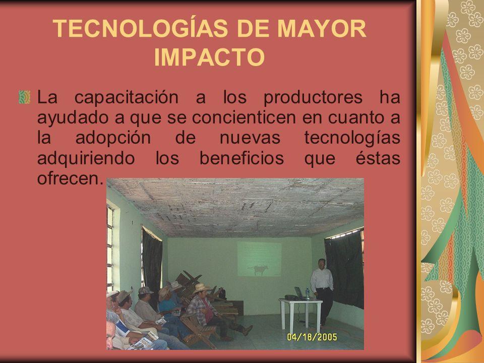 TECNOLOGÍAS DE MAYOR IMPACTO La capacitación a los productores ha ayudado a que se concienticen en cuanto a la adopción de nuevas tecnologías adquirie