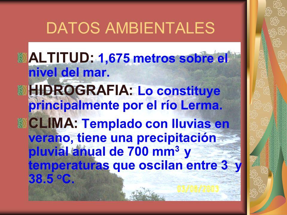 DATOS AMBIENTALES ALTITUD: 1,675 metros sobre el nivel del mar. HIDROGRAFIA: Lo constituye principalmente por el río Lerma. CLIMA: Templado con lluvia