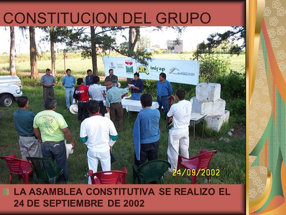 CONSTITUCION DEL GRUPO LA ASAMBLEA CONSTITUTIVA SE REALIZO EL 24 DE SEPTIEMBRE DE 2002