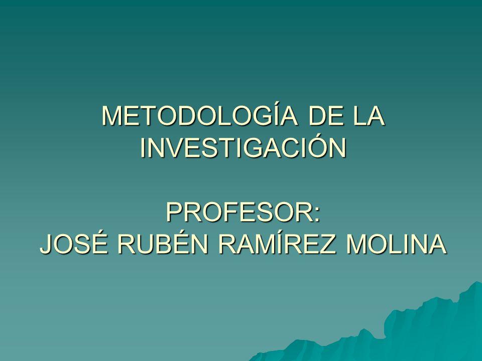 METODOLOGÍA DE LA INVESTIGACIÓN PROFESOR: JOSÉ RUBÉN RAMÍREZ MOLINA