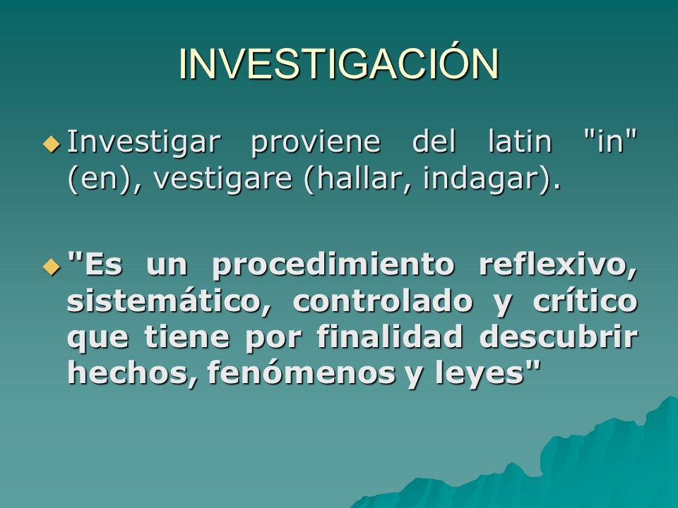 INVESTIGACIÓN Investigar proviene del latin