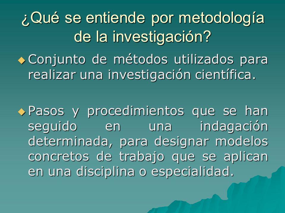 ¿Qué se entiende por metodología de la investigación? Conjunto de métodos utilizados para realizar una investigación científica. Conjunto de métodos u