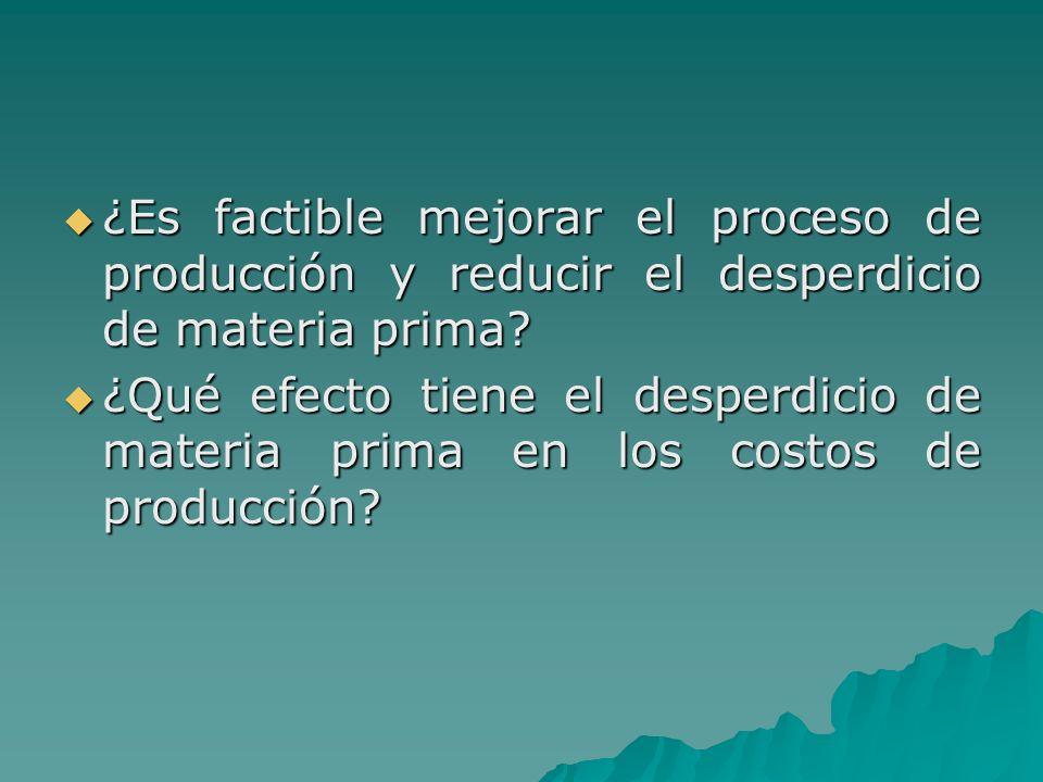 ¿Es factible mejorar el proceso de producción y reducir el desperdicio de materia prima? ¿Es factible mejorar el proceso de producción y reducir el de