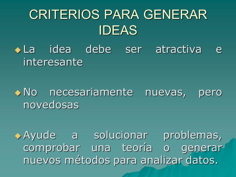 CRITERIOS PARA GENERAR IDEAS La idea debe ser atractiva e interesante La idea debe ser atractiva e interesante No necesariamente nuevas, pero novedosa