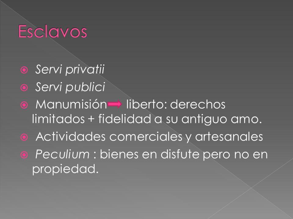 Servi privatii Servi publici Manumisión liberto: derechos limitados + fidelidad a su antiguo amo.