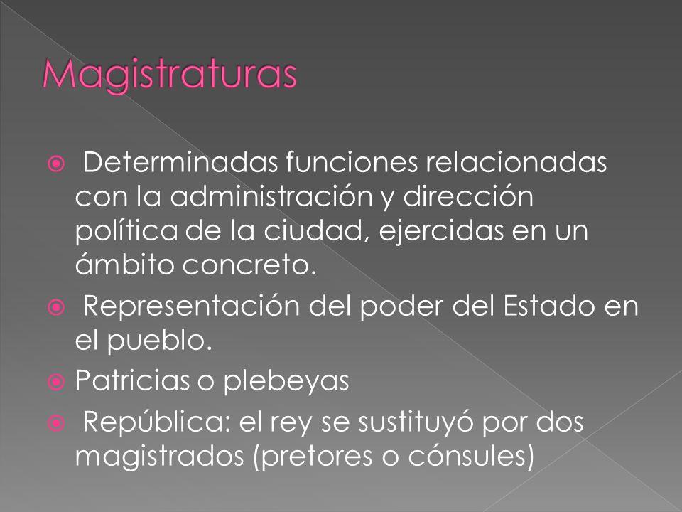 Determinadas funciones relacionadas con la administración y dirección política de la ciudad, ejercidas en un ámbito concreto.