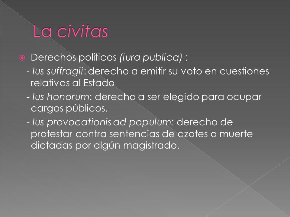 Derechos políticos (iura publica) : - Ius suffragii: derecho a emitir su voto en cuestiones relativas al Estado - Ius honorum: derecho a ser elegido para ocupar cargos públicos.
