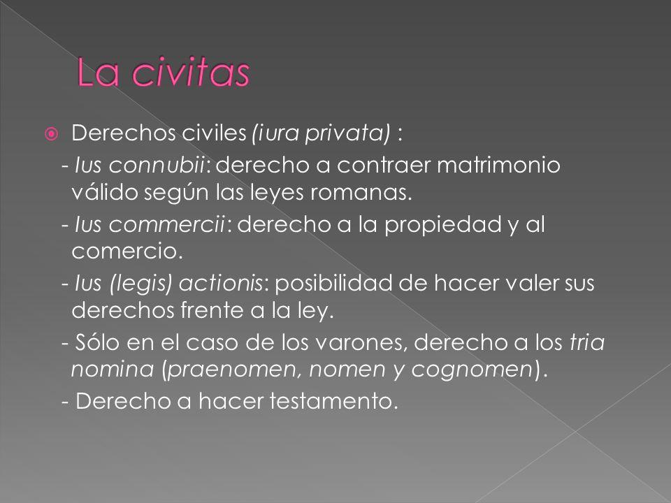 Derechos civiles (iura privata) : - Ius connubii: derecho a contraer matrimonio válido según las leyes romanas.