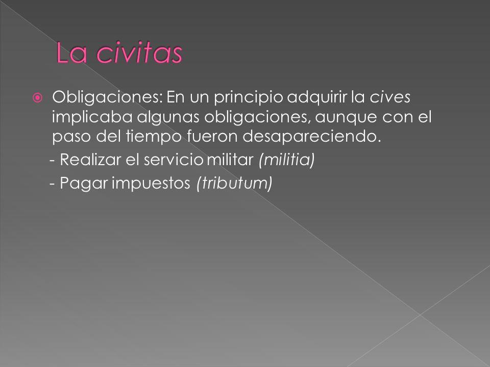 Obligaciones: En un principio adquirir la cives implicaba algunas obligaciones, aunque con el paso del tiempo fueron desapareciendo.